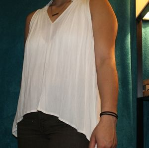 Flowy White High Low Tank